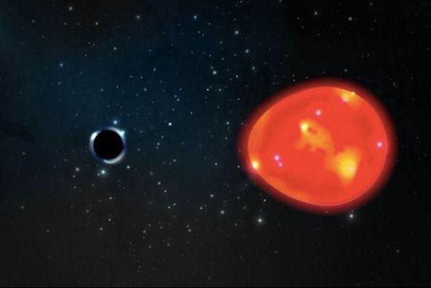 Le trou noir, à gauche, a été repéré grâce à la distorsion que sa force gravitationnelle exerce sur une étoile géante rouge.