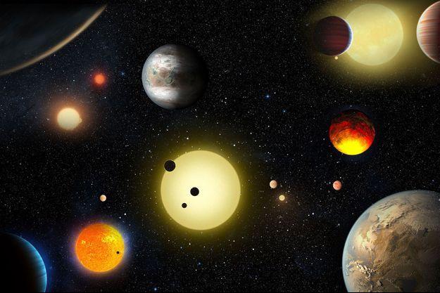Illustration d'artiste des planètes observées par Kepler