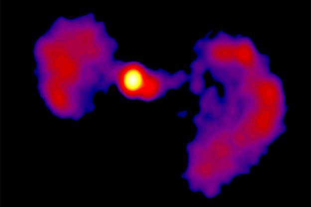 TXS 0128 + 554 observé par les antennes radio du Very Long Baseline Array (VLBA).