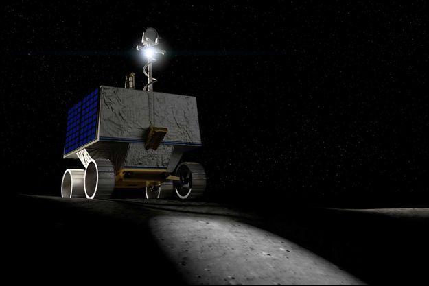 Illustration du rover VIPER sur la Lune.
