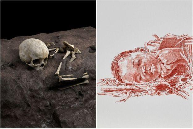 Reconstruction 3D de la disposition des restes de l'enfant.