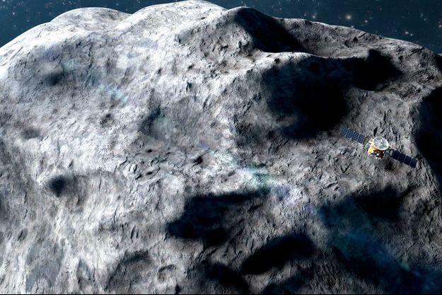 Vue d'artiste de la sonde émiratie sur Vénus.