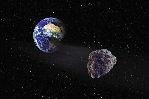 Illustration d'un astéroïde devant la Terre.