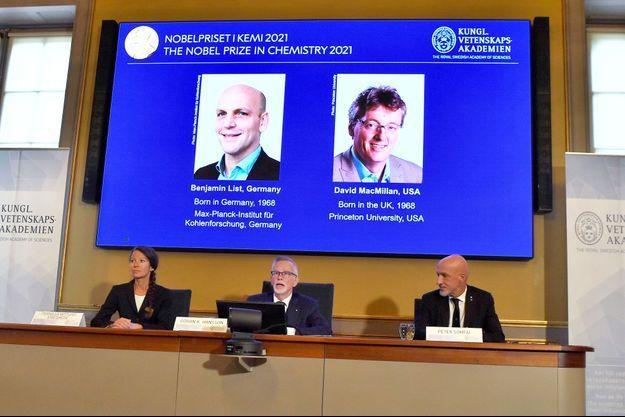 Le prix Nobel de chimie a sacré mercredi l'Allemand Benjamin List et l'Américain David MacMillan.