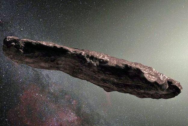 L'astéroïde Oumuamua représenté sous la forme d'un cigare. Mais il pourrait tout aussi bien être plat et fin comme une crêpe.