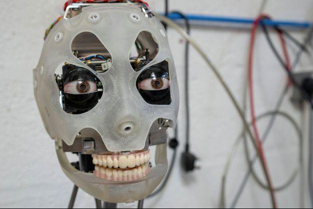 La tête du robot Ai-Da, qui est capable de peindre seul.