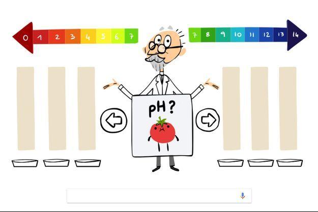 Le Doodle de Google qui célèbre la mémoire du chimiste S. P. L. Sørensen.