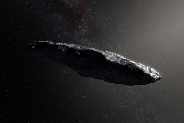 Une représentation d'artiste d'Oumuamua, astéroïde au comportement si étrange que l'astronome Avi Loeb croit qu'il pourrait s'agir d'un vaisseau extraterrestre.