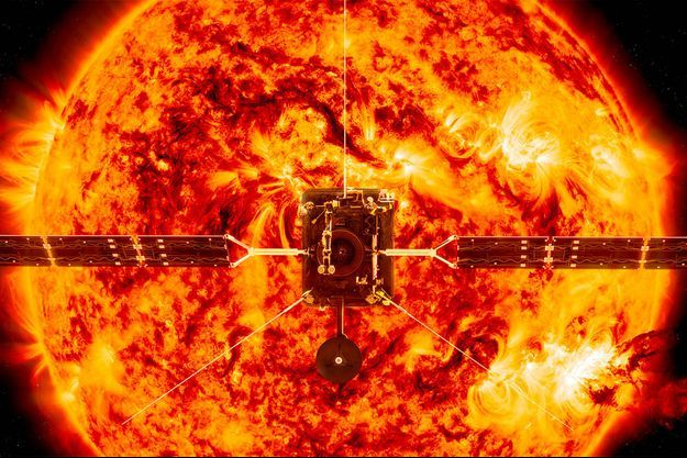 Illustration de la sonde Solar Orbiter devant le Soleil.