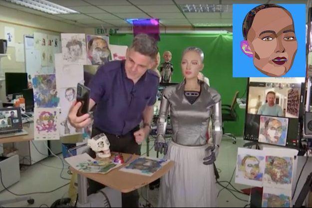 Le peintre Andrea Bonaceto avec son élève, Sophia. En médaillon, l'autoportrait du robot.