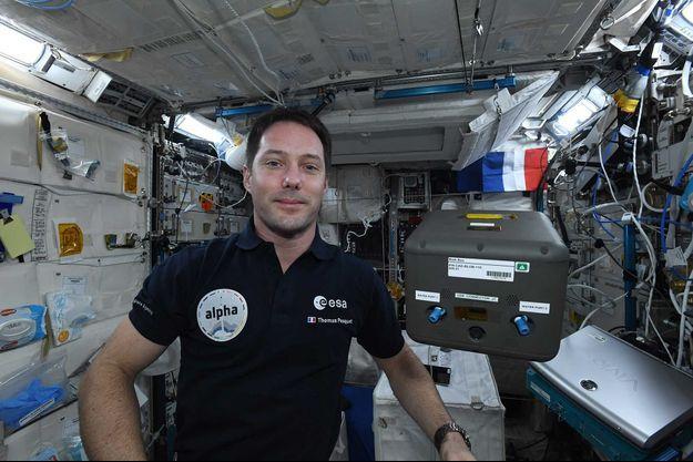 Thomas Pesquet, dans l'ISS.