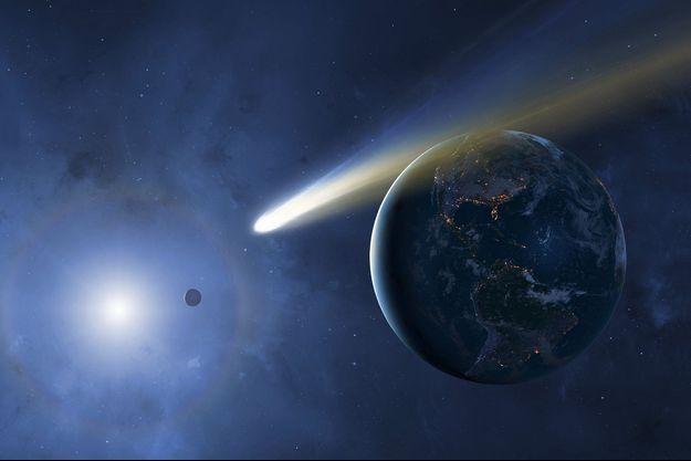 Illustration d'une comète près de la Terre.