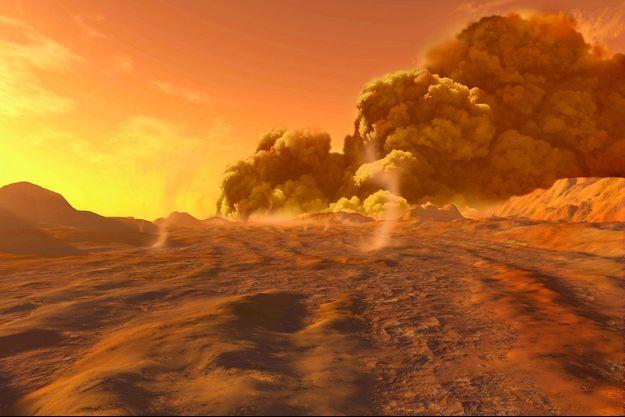 Illustration d'artiste d'une tempête de poussières sur Mars.