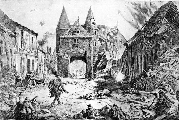 L'image du combat devant la porte des Tourelles