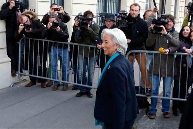 Christine Lagarde à son arrivée au siège de la Cour de justice de la République, ce matin.