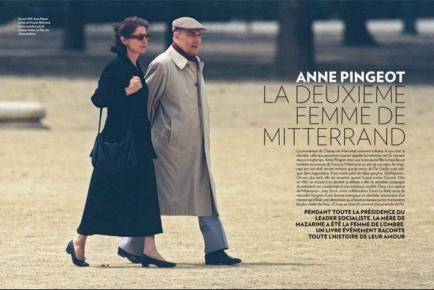 En mars 1995, Anne Pingeot au bras de François Mitterrand, encore président, près de l'avenue Frédéric-Le Play, leur ultime résidence.