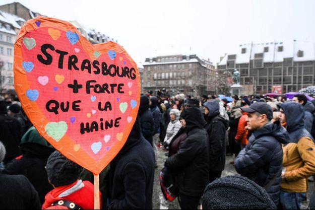Photo d'illustration prise lors du rassemblement dimanche 16 décembre à Strasbourg.