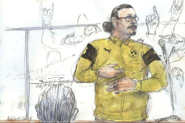 Illustration de Jawad Bendaoud à son procès, le 26 janvier 2018