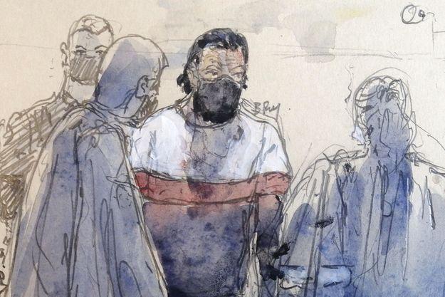 Illustration du deuxième jour du procès. Salah Abdeslam dessiné au centre.