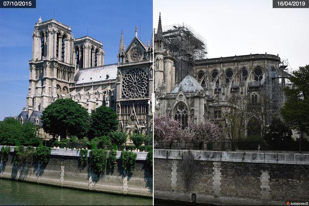 La cathédrale de Notre-Dame de Paris avant puis après l'incendie.