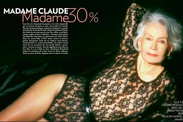 En 1996, Madame Claude, 73 ans, nue sous un body noir.