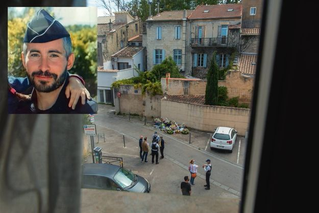 Des policiers municipaux équipés de gilets pare-balles et des riverains sous le choc rue du Râteau, le 7 mai. En médaillon : le brigadier Eric Masson.