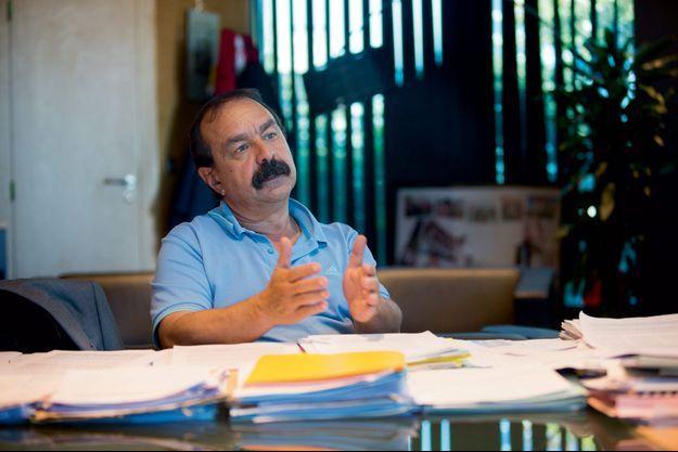 Philippe Martinez dans son bureau au siège de la CGT, à Montreuil.