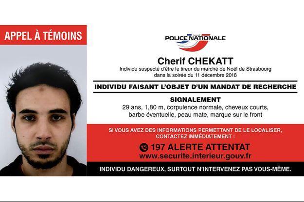 L'avis de recherche de Chérif Chekatt.