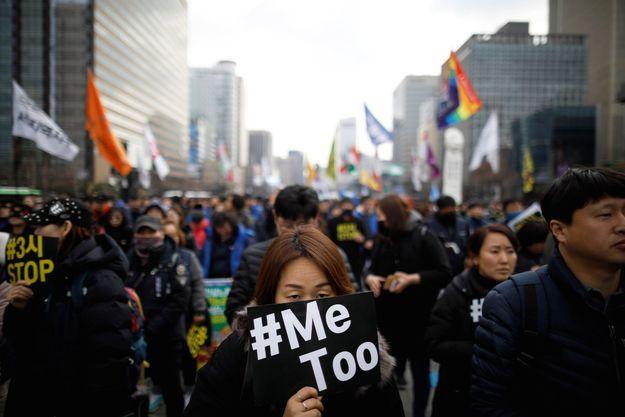 Manifestation à Séoul pour la Journée internationale de la femme le 8 mars 2018.
