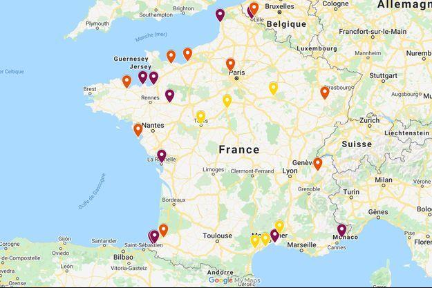La carte de France des villes qui imposent le port du masque.