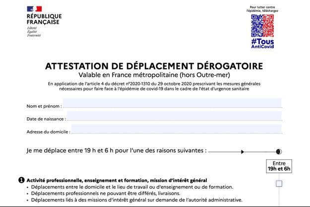 La nouvelle attestation de déplacement dérogatoire.
