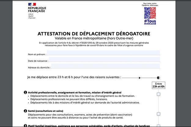 La nouvelle attestation de déplacement dérogatoire à utiliser à partir du 9 juin pour sortir entre 23 heures et 6 heures.