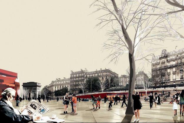 Vue d'artiste du projet d'aménagement de l'avenue Foch.