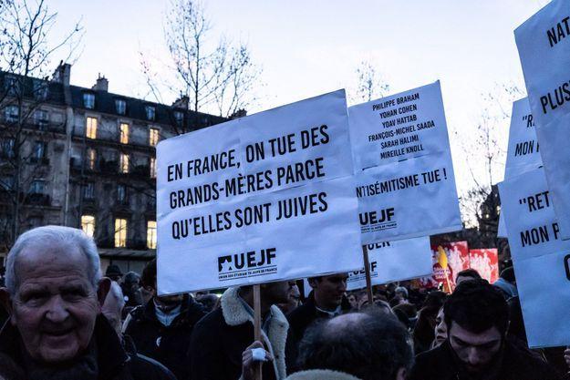 Manifestation contre l'antisémitisme en février 2019 à Paris.