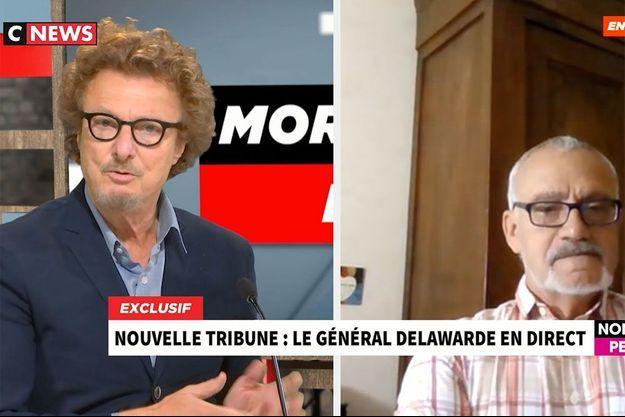 Le général Dominique Delawarde (à dr.), interrogé par Claude Posternak, vendredi sur CNews.