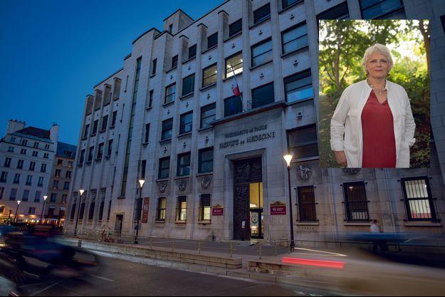 L'ancienne université Paris-Descartes, à Paris. En médaillon : Dominique Hordé, ex-secrétaire générale du Centre du don des corps.
