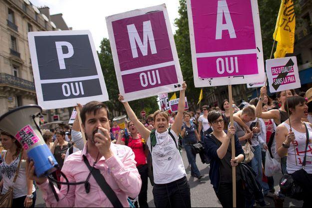 Manifestants en faveur de la PMA lors de la gay pride en juin 2013 à Paris.