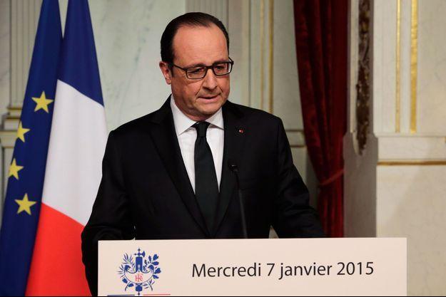 François Hollande lors de son allocution le 7 janvier 2015.