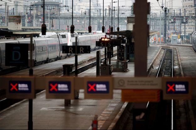 La gare de Lyon à l'arrêt ce vendredi.