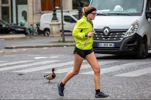 Un joggeur à Paris.