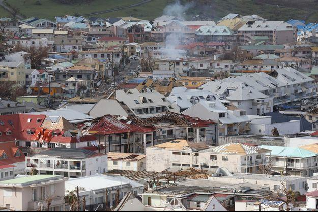 A Saint-Martin, ravagé par l'ouragan Irma.