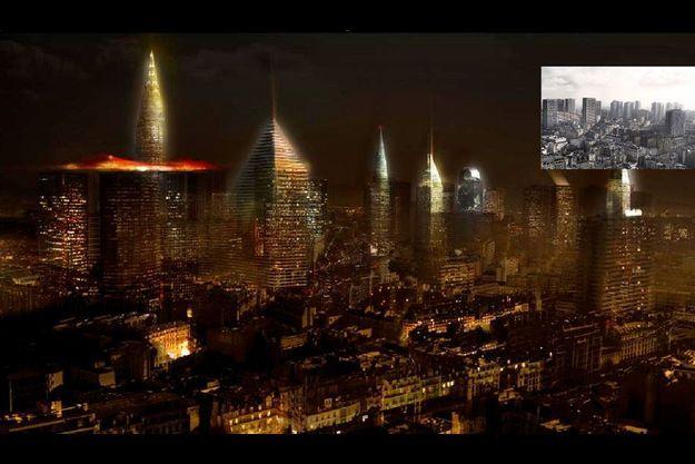 Une fenêtre ouverte sur le futur. Repensé par Jean Nouvel, le quartier des Olympiades, dans le XIIIe arrondissement, relooke ses tours actuelles (à dr.) pour se doter d'un skyline aux silhouettes composites. Sur cette simulation numérique, les immeubles historiques s'appuient sur une forêt de verre et d'acier, traversée de lumière.
