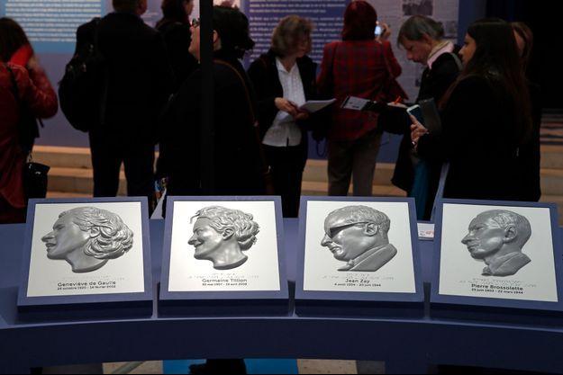 Portraits des quatre personnalités qui entreront au Panthéon, mercredi. Jean Zay est le deuxième en partant de la droite.