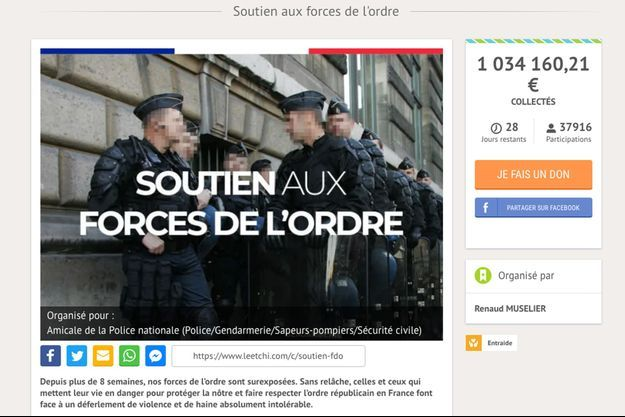 """La cagnotte en ligne pour les forces de l'ordre blessées lors des manifestations des """"gilets jaunes"""" a dépassé le million d'euros."""