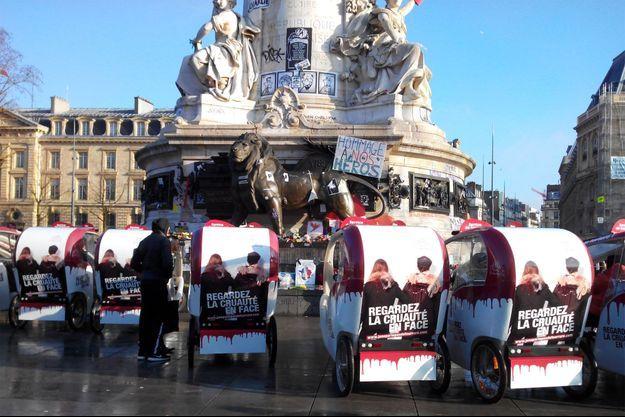 Les vélos-taxis utilisés pour l'opération de cette journée circuleront durant 8 jours dans les rues de Paris.