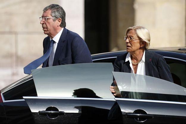 Patrick et Isabelle Balkany aux funérailles de Charles Pasqua le 3 juillet 2015.