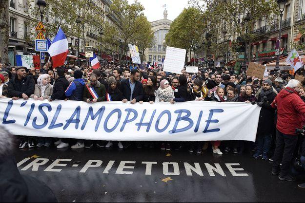 Image d'illustration; Ici, à Paris, en novembre 2019, lors de la manifestation contre l'islamophobie organisée par le CCIF.