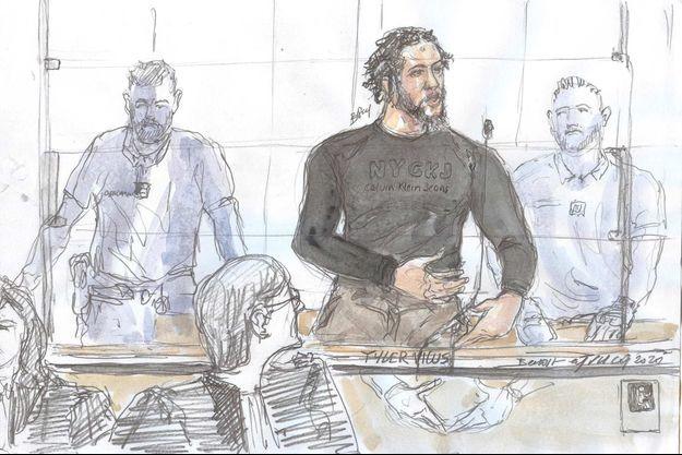 Croquis d'audience de Tyler Vilus lors de son procès.