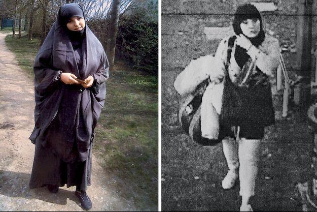 L'été 2013 à Creil, en banlieue parisienne, Sarah portait plus facilement le jilbab qu'à Narbonne, où elle étudiait. A d. : le 11 mars, à 6 h 45, les caméras deesurveillance, sur un quai de Lézignan, dans l'Aude, l'enregistrent pour la dernière fois.