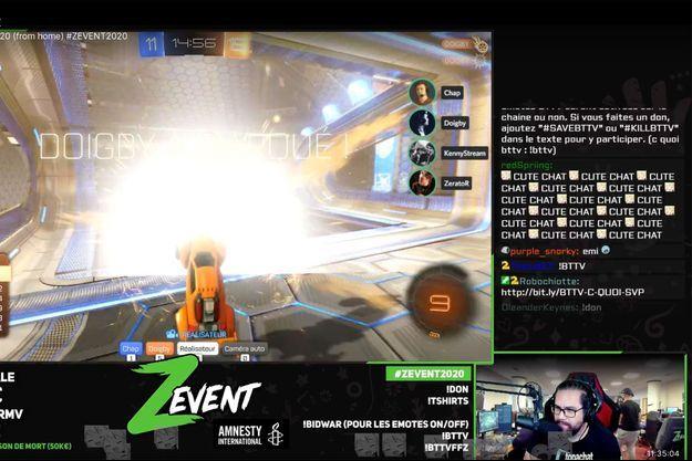 Capture d'écran d'une partie diffusée sur Twitch pendant le Z Event 2020.